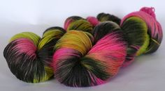 Merino, Cashmere, Nylon, 8 ply/ DK. Varigated. pink, black, lime, yellow by AngiesStudioYarn on Etsy