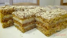 Grízes szelet tejes krémmel Cake Recipes, Vegan Recipes, Dessert Recipes, Cooking Recipes, Torte Recepti, Hungarian Recipes, Cakes And More, Yummy Treats, Sweet Tooth