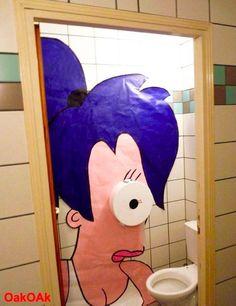 Interesting bathroom decor ... Futurama Leela.  #futurama