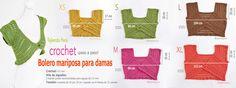 Bolero o torera mariposa tejido a #crochet para mujeres en 5 tallas: XS·S·M·L·XL Paso a paso en video tutorial :)