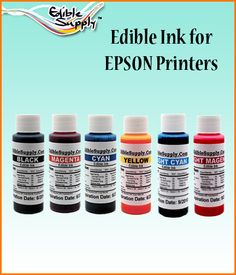 6 Color 2  Oz Edible Ink Refill  Combo for Epson <br><font color=red>New</font>