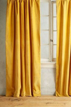 Mustard Yellow Velvet Curtains Bedroom Design