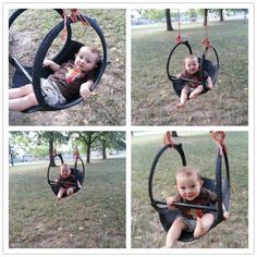 My grandpa made us one of these when we were little.  Hung it in a pine tree in their back yard and he would swing us sooo high!!!!Wonderful idea - old tire swing