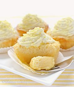 Lemon Magic Cake Cupcakes - the magic continues. 1 batter (during baking separates into) 3 layers (dense on the bottom, custard in the middle, sponge on top), lemon flavor, melt-in-you-mouth cupcakes. Lemon Desserts, Lemon Recipes, Köstliche Desserts, Sweet Recipes, Plated Desserts, Cupcake Recipes, Cupcake Cakes, Dessert Recipes, Lemon Cupcakes