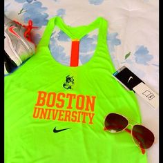 Nike Elastika Tank Boston University Size Medium, New With Tags, Color Flash Lime Nike Tops Tank Tops