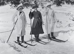 """Ladies skiing, Snowy Mountains, ca. 1900. Women skied at Kiandra from early in the sport's history. The South Australian Register for 12 March, 1900 reported on the annual """"snow shoe races"""" of the Australian Alpine Club at Kiandra, observing that """"all the men, women, and children use the skis"""". Maggie, a maid at the Kiandra Hotel, was the local women's champion. Note the use at the time of the single ski pole."""