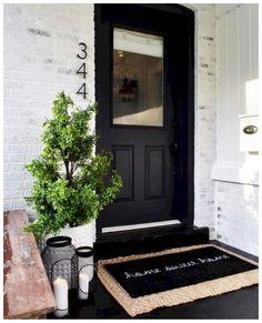 50 Stunning Modern Farmhouse Front Door Entrance Ideas - Interior and Exterior Design - Front Door Entrance, Front Door Decor, Front Door Numbers, House Numbers, Porch Entry, Front Porch Decorations, Dark Front Door, Front Door Porch, Address Numbers