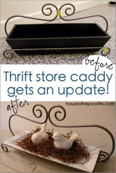 Thrift store caddy gets an update. - House of Hepworths Thrift Store Furniture, Thrift Store Finds, Repurposed Furniture, Shabby Chic Furniture, Kids Bedroom Furniture, Space Saving Furniture, Decorating Your Home, Diy Home Decor, Shabby Chic Crafts