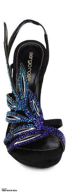 SERGIO ROSSI:: Crystal-Coated Feather Sandals