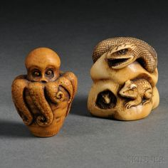 "Two Ivory Netsuke of Creatures, Japan, 19th/20th century, including a carving of a snake and two frogs in hibernating underground, with incised and stained details, fine patina, signed ""Tomoyuki"" to base, ht. 1 7/8; the other an octopus coming out of a jar, stained in red-brown tones, signed ""Tomomitsu"" to base, ht. 1 7/8 in.,"