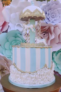Pretty pastel carousel birthday party cake! See more party ideas at CatchMyParty.com!