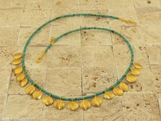 ♛ ARA jewelry - 24K hammered discs with turquoise