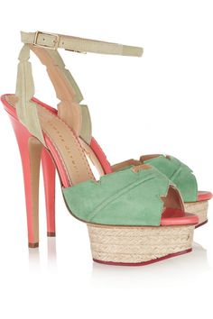 Isla palm leaf suede and leather sandals by Charlotte Olympia