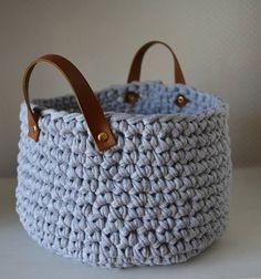 crochet basket | gray basket | storage basket | t shirt yarn basket | round basket | minimalist decor