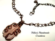 Rose quartz  copper wire wrapped necklace by helenshmcreations, £32.00