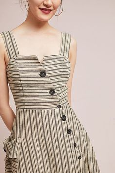 Slide View: 4: Striped Utility Midi Dress
