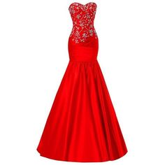 SimpleDressUK Women's Elegant Beaded Prom Gowns Mermaid Sweetheart... ❤ liked on Polyvore featuring dresses, gowns, prom gowns, red prom gowns, red dress, sweetheart prom dresses and red evening dresses