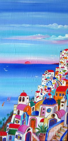 Santorini Needs You Painting by Roberto Gagliardi
