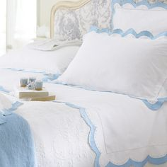 Eugenie Embroidered Bed Linen - Cologne & Cotton  Delicately embroidered with a scalloped border and fine ladderstitch, with a tiny spot detail.  This very beautiful bed linen range is made in a soft and luxurious 260 thread count 100% Egyptian cotton sateen.
