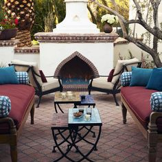 Moroccan Outdoor Fireplace - love this fireplace design and the color scheme