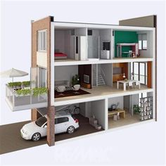 Drive-in woning - Haus Modern Tiny House, Small House Design, Doll House Plans, House Floor Plans, Doll House Flooring, Drive In, Casas Containers, Narrow House, Home Design Plans