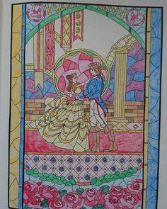 . 久々の塗り絵✏ 美女と野獣のページ . やっぱり塗り絵楽しい #大人の塗り絵 #コロリアージュ #旅するディズニー塗り絵