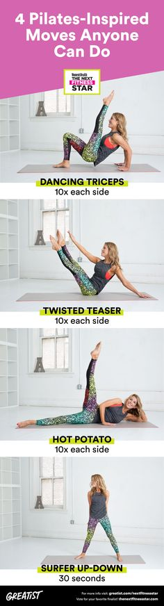 Grab a mat for these muscle-building exercises from Next Fitness Star finalist Andrea Speir. #Pilates #bodyweight #exercises http://greatist.com/move/pilates-exercises-bodyweight-moves-you-can-do-anywhere