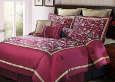 12pc Oversized Bed-in-a-Bag Fran Burgundy-Includes 600TC Sheet Set! - Quality House