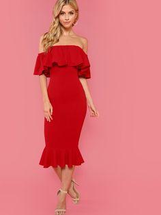 b5965ca8d784 Off Shoulder Ruffle Trim Dress -SheIn(Sheinside) Облегающие Платье, Отделка  Рюшами,