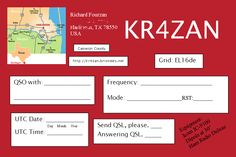 My KR4ZAN QSL Card.  Contact me on the radio waves to receive one.  Let's schedule a QSO