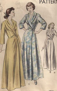 "Vintage 1940s, Vogue Pattern 6619, HouseCoat ""Easy to Make"", 36B. $18.00, via Etsy."