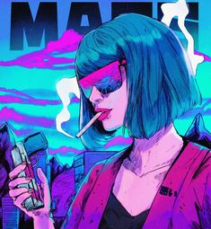 1 or Tried working only with purples and blues on this one! Trying to find an aesthetic for my night settings. Arte Cyberpunk, Neon Noir, Vaporwave Art, Smoke Art, Anime Art Girl, Psychedelic Art, Aesthetic Art, Art Inspo, Bunt