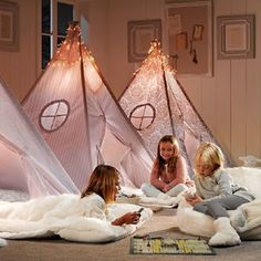 Adorn Your Kid's Room or Playroom with a Teepee! Sleepover Beds, Sleepover Party, Slumber Parties, Pj Party, Party Games, Little Girl Rooms, Little Girls, Baby Girls, Childrens Room