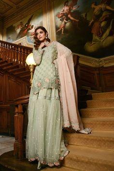 MARIA B Latest Apple Green & Lilac Embroidered Chiffon Collection Replica Pakistani Formal Dresses, Pakistani Fashion Party Wear, Winter Formal Dresses, Pakistani Dress Design, Pakistani Outfits, Indian Dresses, Indian Fashion, Indian Designer Outfits, Designer Dresses