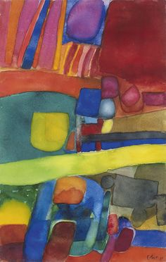 """thunderstruck9: """" Maurice Estève (French, 1904-2001), Composition, 1969. Watercolour on paper, 48 x 32 cm. """""""