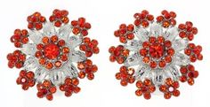 Large Victorian Diamond Accent Flower Clip-On Earrings with Austrian Crystal