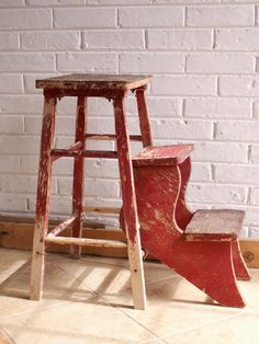 Vintage Red Wooden Folding Stool - Great Chippy Paint