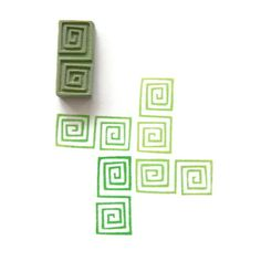 Tribal Square Spirals Pattern Stamp  by creatiate Geometric