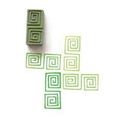 Tribal Square Spirals Pattern Stamp by creatiate Geometric
