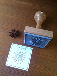 Sun Bookplate Stamp Ex Libris Stamp with wooden by Exlibrisstudio