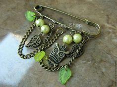 Брошь-булавка Винтажная сова - салатовый,зеленый,бронза,брошь под бронзу