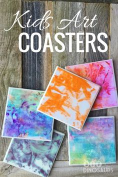 Need a last minute gift for Mother's Day? We've got you covered with these adorable DIY coasters made from your child's artwork! They are cheap, easy to make, and absolutely adorable! CRAFTS|DECOR|PROJECT|KIDS