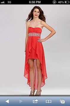 Formal dress/ Homecoming / Prom http://www.dillards.com/product/B.-Darlin-Strapless-Beaded-HiLow-Dress_301_-1_301_503636662?df=03955174_zi_coral_multi