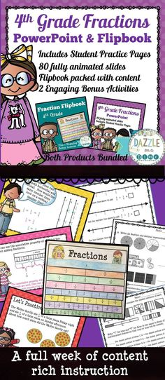 This Fractions 4th Grade PowerPoint with Practice Pages and Flipbook is packed full of important concepts and skills to encourage a deeper understanding of fractions. Sit back and let this Fractions 4th Grade PowerPoint teach your students everything they need to know about 4th Grade Fractions. 4th Grade Fractions, Fourth Grade Math, Teaching Tools, Teaching Resources, Teaching Ideas, Elementary Math, Upper Elementary, Teacher Evaluation, Algebraic Expressions