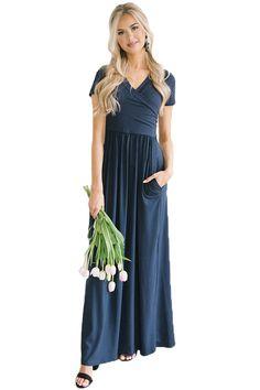 0c2bb86bd94 Navy Cross Over V Neck Short Sleeve Maxi Dress. Elegant Maxi DressMint Maxi  DressesLilac DressPlus Size ...