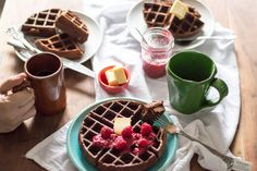 Flourless Chocolate Protein Waffles with Raspberry Chia Spread