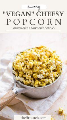 Vegan Popcorn, Gluten Free Popcorn, Healthy Popcorn, Homemade Popcorn, Popcorn Recipes, Snack Recipes, Healthy Recipes, Popcorn Toppings, Dairy Free Appetizers