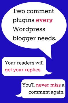 Find out which two Wordpress comment plugins ensure that your readers receive your responses and that you don't miss replying to comments. Blog Website Design, Blog Design, Web Design, Website Themes, Future Jobs, Social Media Branding, Blog Love, Writing Resources, Favorite Words