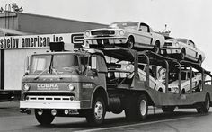 Early Shelby Mustangs in transit. Photo courtesy Hemmings Motor News.