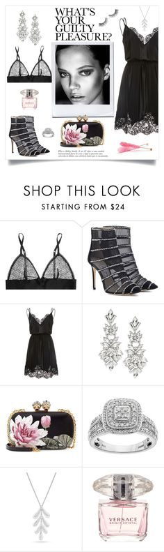 """""""Black and Pink"""" by linmari ❤ liked on Polyvore featuring STELLA McCARTNEY, Jimmy Choo, Georgine, Design Lab, Alexander McQueen, Always Yours, Lucky Brand and Versace"""